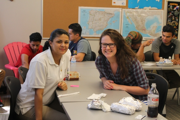 Senior Elsa Cardenas enjoys a catered lunch with her mentor, Kristin Werp.