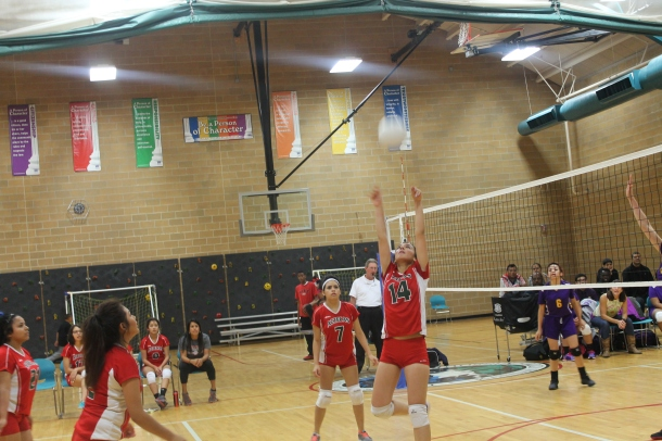 Senior Mariel Fierro sets the ball while playing Cristo Rey on Oct. 9.