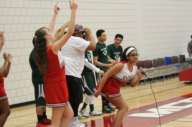 The seniors spiced things up, challenging the teachers to play better.