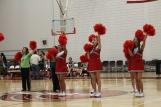 Seniors Ondrea Lapadino, Elicia Reuscher and Alma Calderon led their last game as AV cheerleaders.
