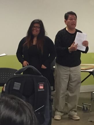Cesar Chavez Scholarship Committee board member Joe Arce presented senior Natalia Hernandez with the Cesar Chavez Scholarship.