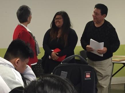 Cesar Chavez Scholarship Committee board members Monica Huffman and Joe Arce awarded senior Natalia Hernandez the UCM Cesar Chavez Scholarship.