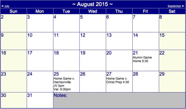 Boys' Soccer Schedule August 2015