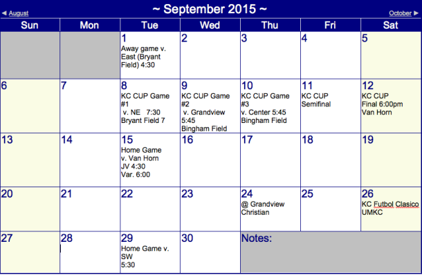 Boys' Soccer Schedule September 2015