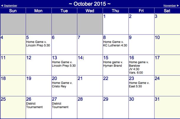 Boys' Soccer Schedule September 2015