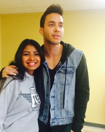 Prince Royce met with a few seniors before leaving.
