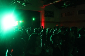 AV students dancing as one under the bright lights of Homecoming.